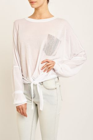 SHIMMER POCKET TIE UP TOP