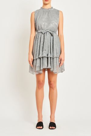 KATRINA SLEEVELESS TIE FRONT DRESS