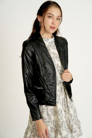 ZIPPER DETAIL PU JACKET (324675)