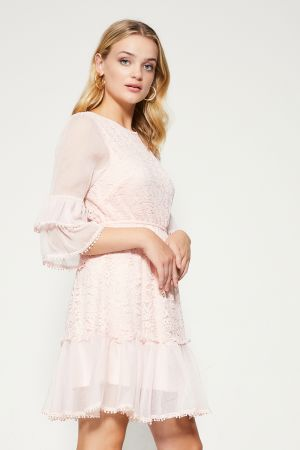 FRILL SLEEVE LACE DRESS  (324958)