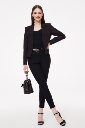 COLLARLESS TAILORED JACKET (325476)