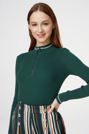 ZIPPER HIGH NECK KNIT TOP (325859)