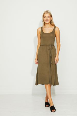 JANIS RUCHED WAIST JERSEY DRESS