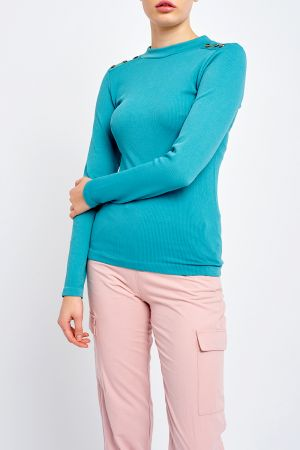 EVA BUTTON SHOULDER TOP