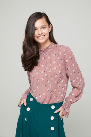 DEBORAH FRILL HIGH NECK BLOUSE