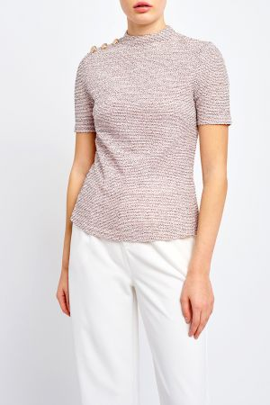 BUTTON SHOULDER TEXTURED TOP