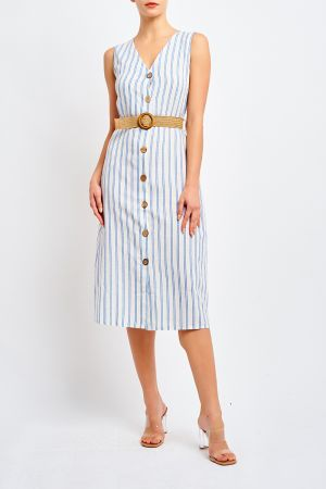 AUSTIN BUTTON DRESS WITH BELT