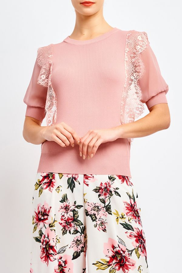 MARISA FABRIC COMBINED KNIT TOP