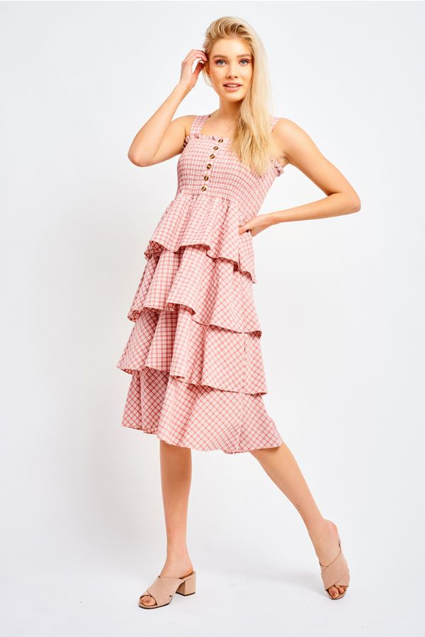 MILA SHIRRED RUFFLED DRESS