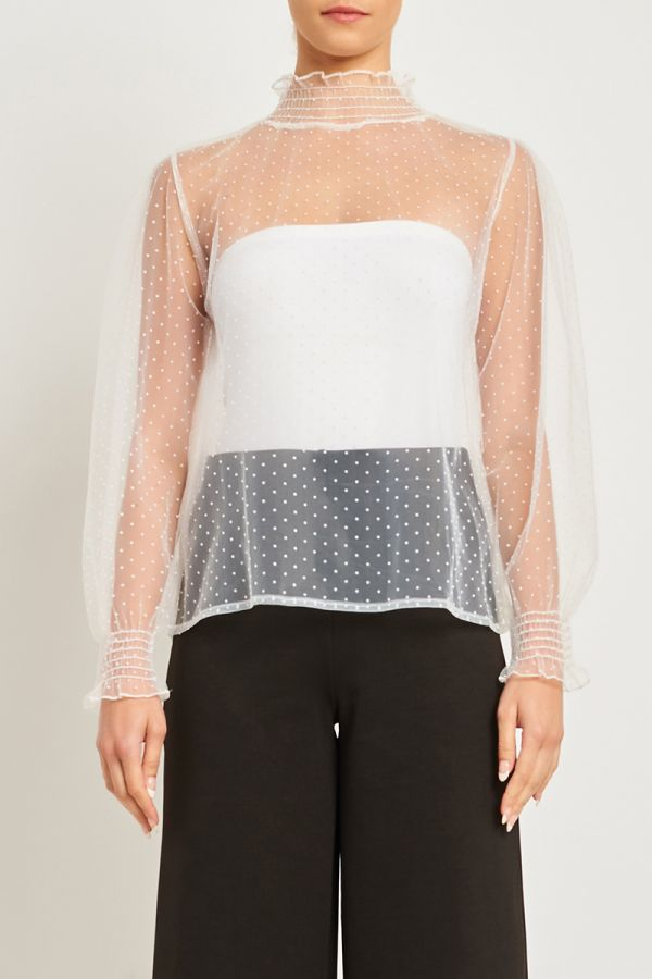 POLKA DOT MESH TOP