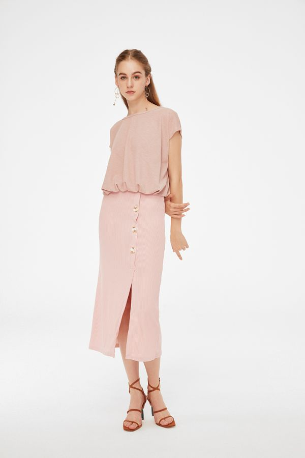 WILLOW SIDE BUTTON SPLIT SKIRT