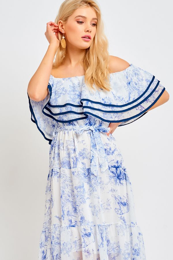 TIERED OFF SHOULDER LACE DRESS