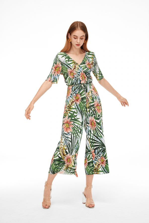 TROPICAL TIE WAIST JUMPSUIT
