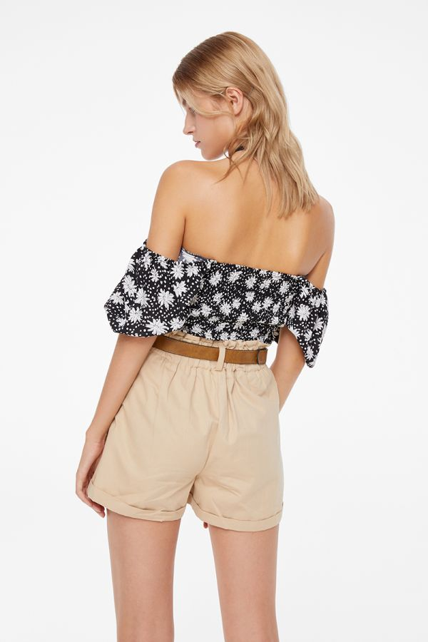 DAISY OFF SHOULDER PUFF SLEEVE CROP TOP (322551)