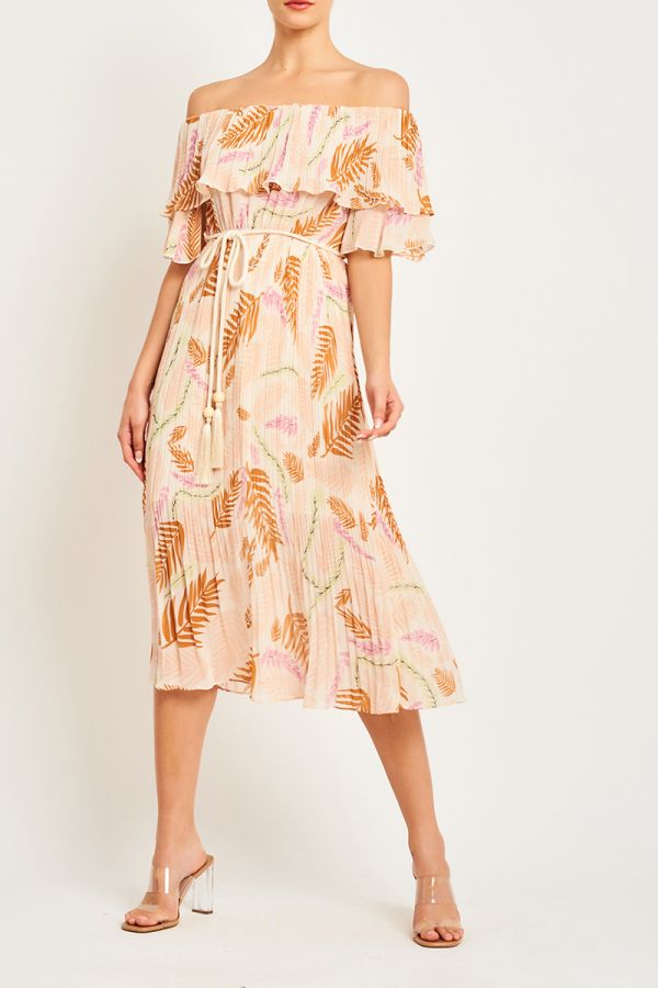 RIRI OFF SHOULDER BELTED DRESS