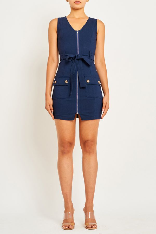 KATRINA ZIP UP MINI DRESS