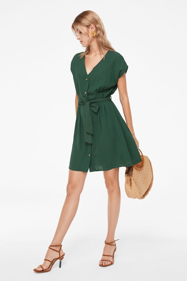 SUSAN BUTTON DOWN TIE WAIST DRESS (322699)