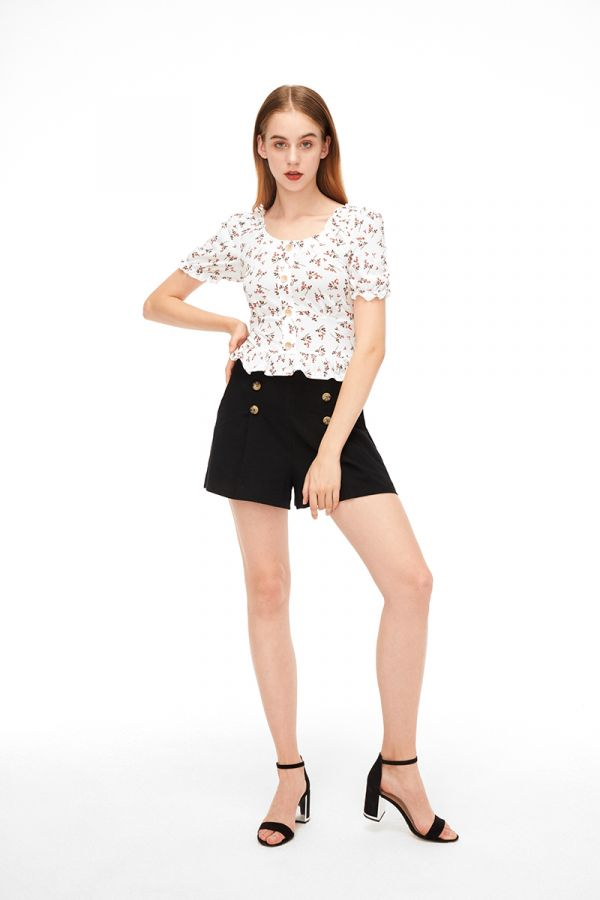 BUTTON DOWN SHIRRED MILKMAID TOP (322751)