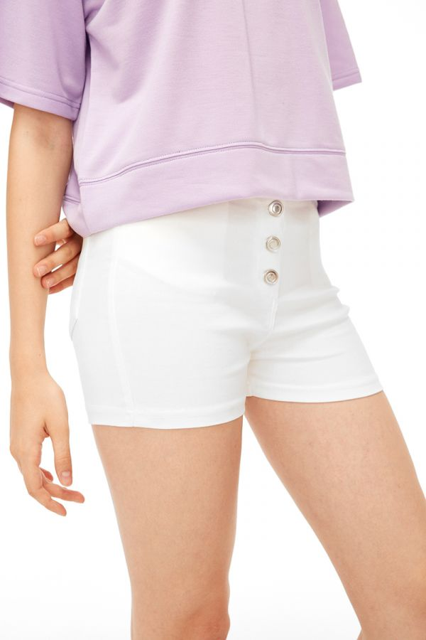 CLAY BUTTON DETAIL SHORTS