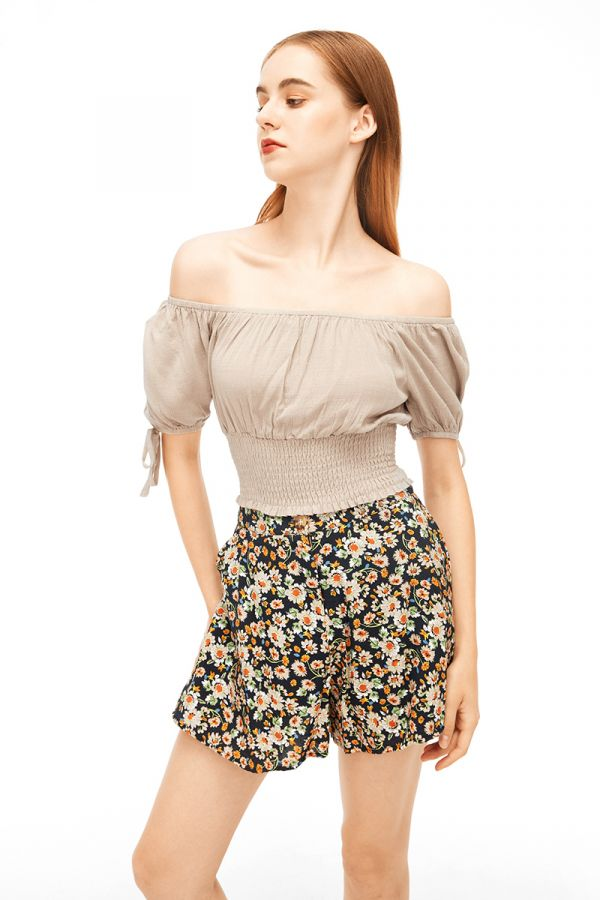 ERICA OFF SHOULDER SHIRRED CROP TOP