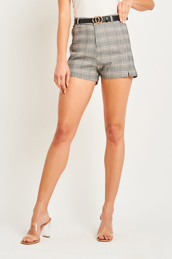 ELLA CHECKED BELTED SHORT