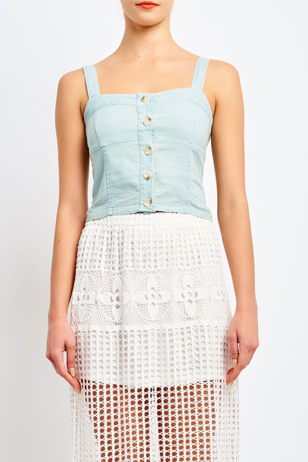 SOFT DENIM BUTTON TOP