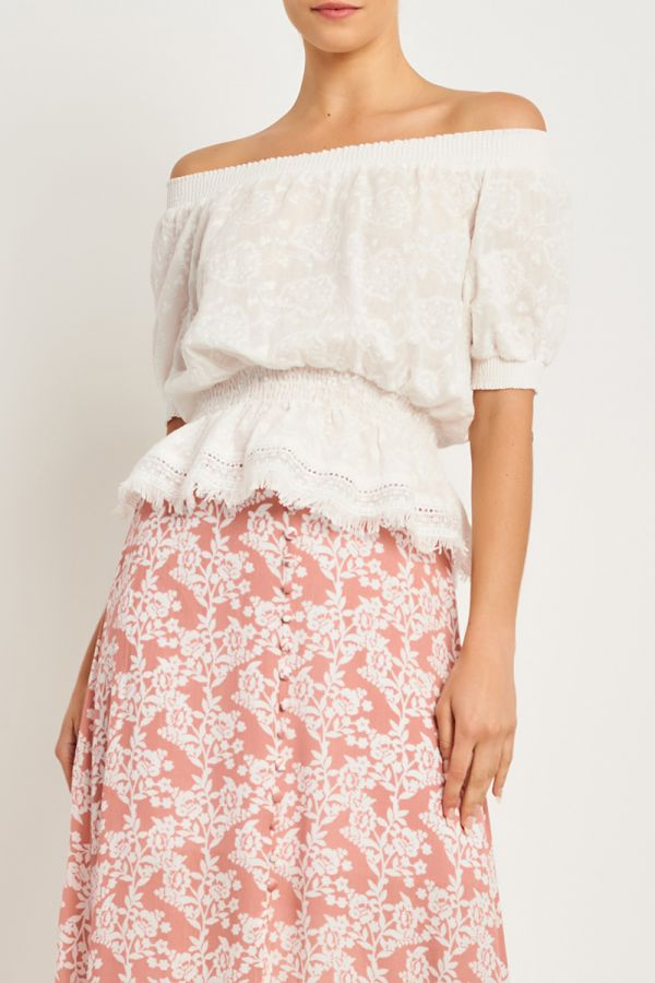 VICTORIA BRODERIE OFF SHOULDER BLOUSE