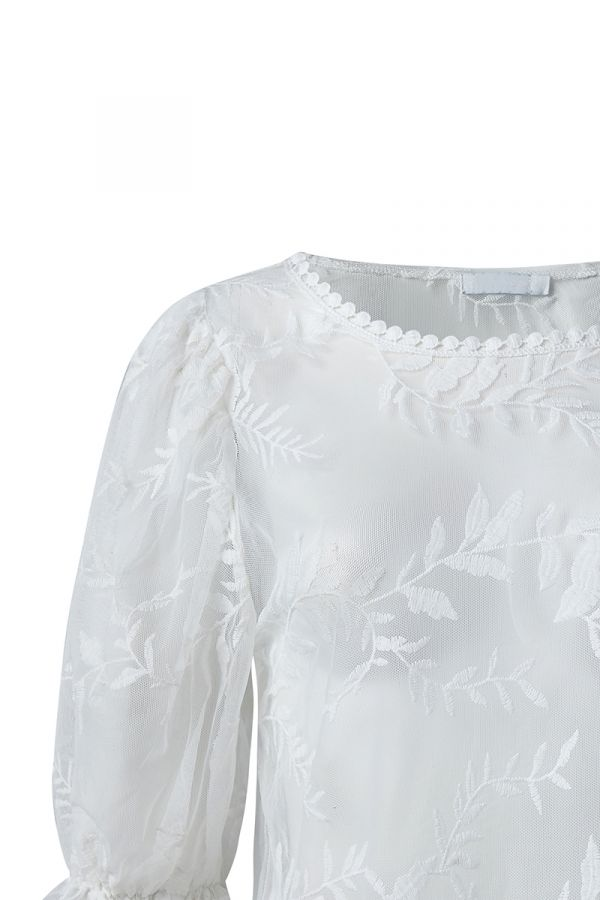 MAYA EMBROIDERED CHIFFON TOP (323070)