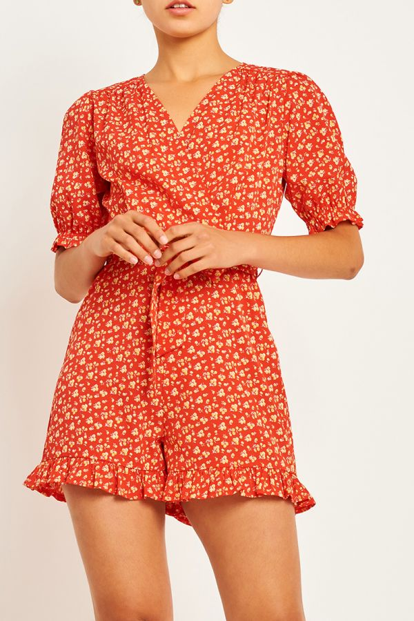 LALA TIE FRONT PLAYSUIT