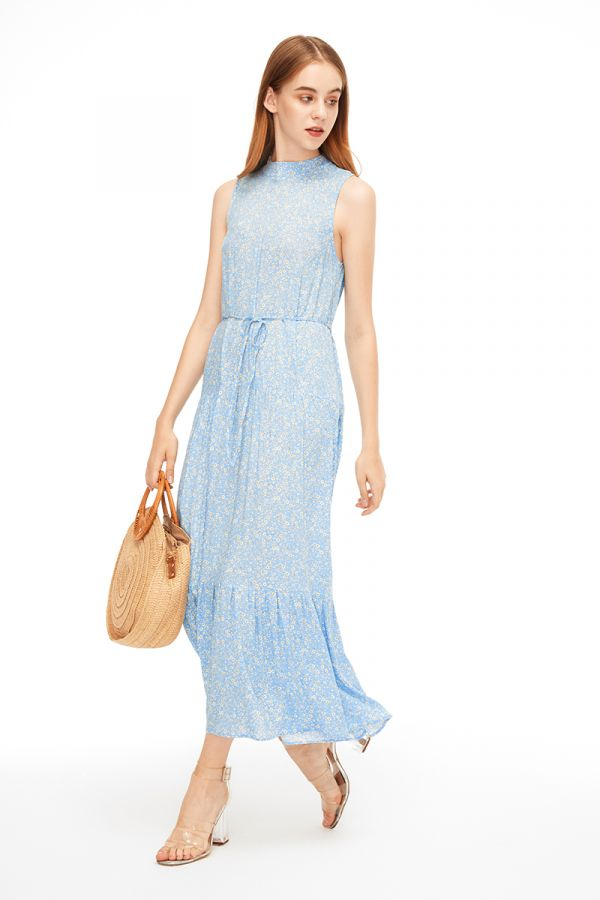 BECCA HIGH NECK SLEEVELESS MAXI DRESS