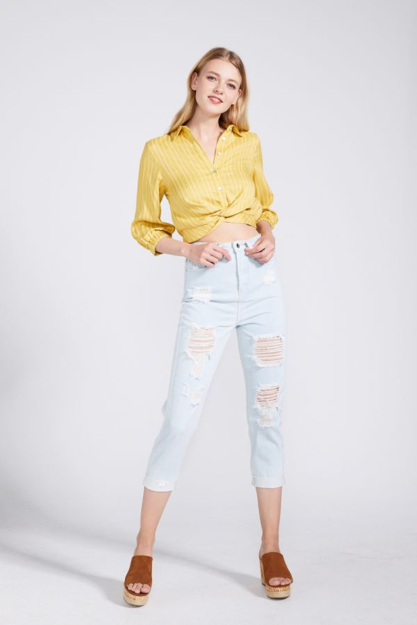 NORA DISTRESS DENIM PANTS
