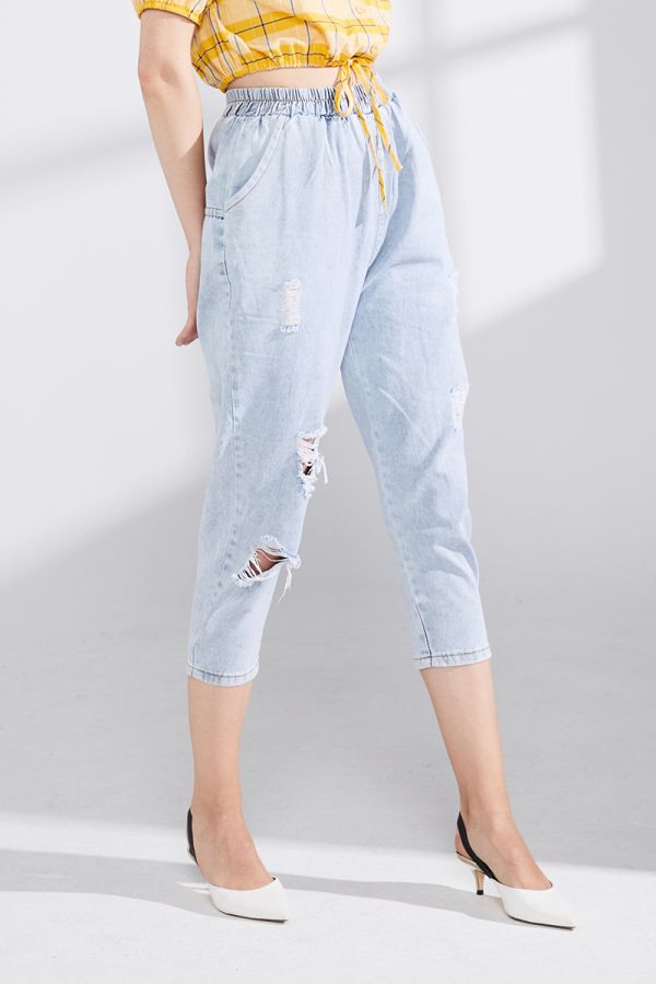 LEXIS DISTRTESS DENIM PANTS