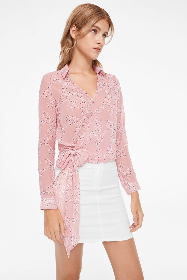 FLORA TIE FRONT LONG SLEEVE BLOUSE