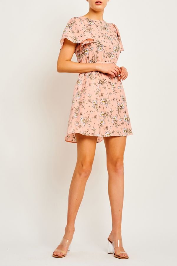 BELLA FLUTTER SLEEVE MINI DRESS (323368)