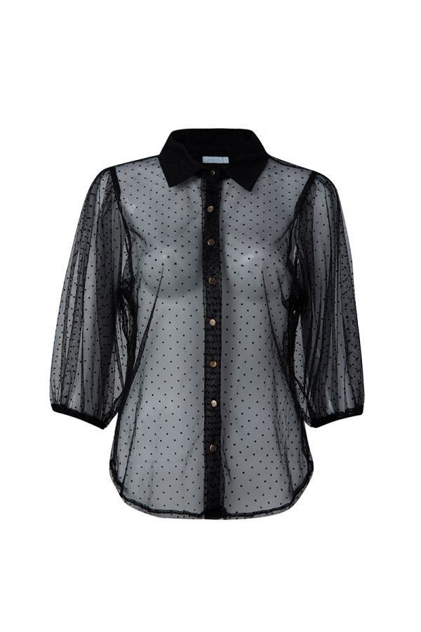 SPOTTED SHEER MESH SHIRT (323442)