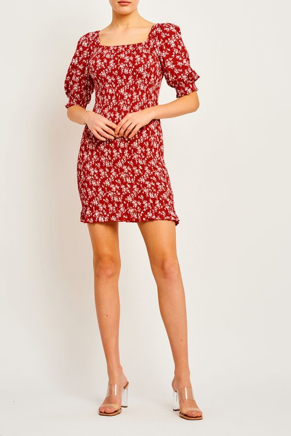 ANDRES PUFF SLEEVE SHIRRED DRESS (323560)