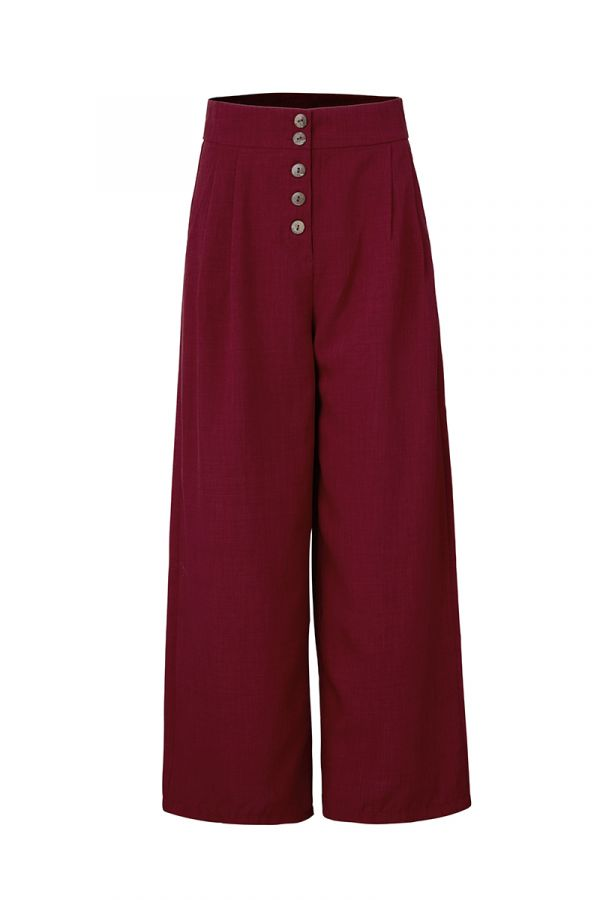 JULES BUTTON DETAIL WIDE LEG PANTS (323583)
