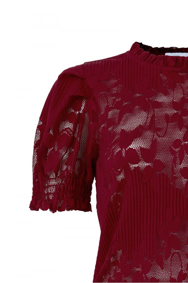 EMMA PUFF SLEEVE SHEER LACE TOP (323649)