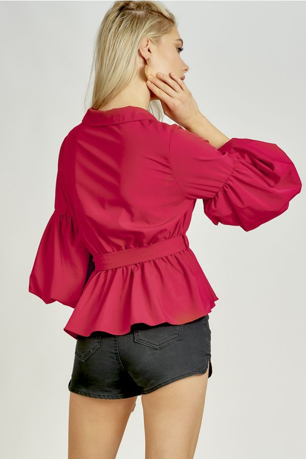 PARIS PUFFY SLEEVE TIE FRONT TOP (323665)