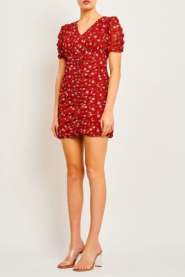 PAULA  SHIRRED MINI DRESS (323720)