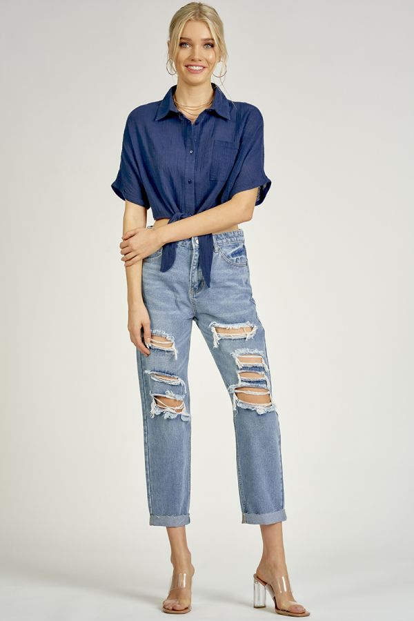 EXTENDED SLEEVE TIED SHIRT  (324061)