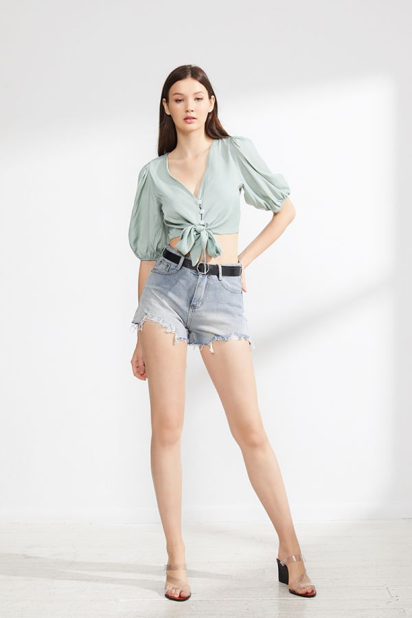 JAISE DENIM SHORT WITH BELT (324104)