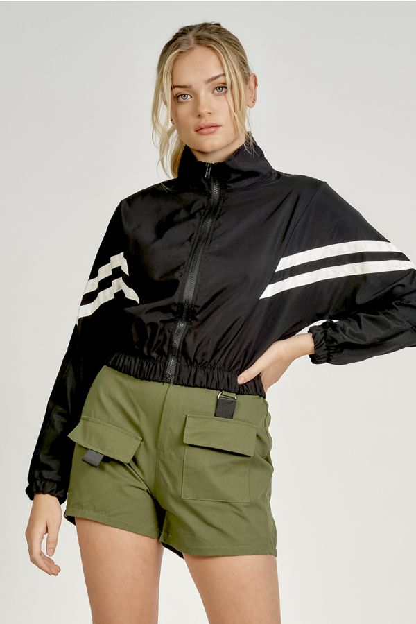 SPORTY STRIPE ZIP UP JACKET (324319)