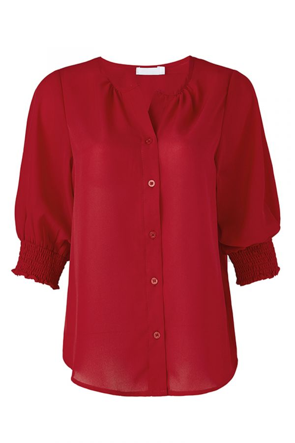 MILAN SHIRRED SLEEVE BLOUSE (324324)