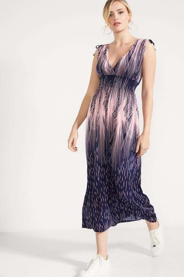 SHIRRED WAIST PRINTED MAXI DRESS (324328)