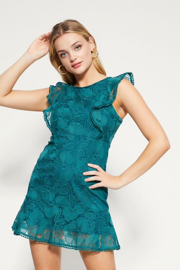 RUFFLE SLEEVE LACE DRESS (324334)