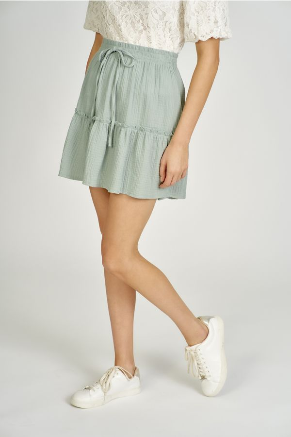 LINEN LIKE HEM FRILL MINI SKIRT (324374)