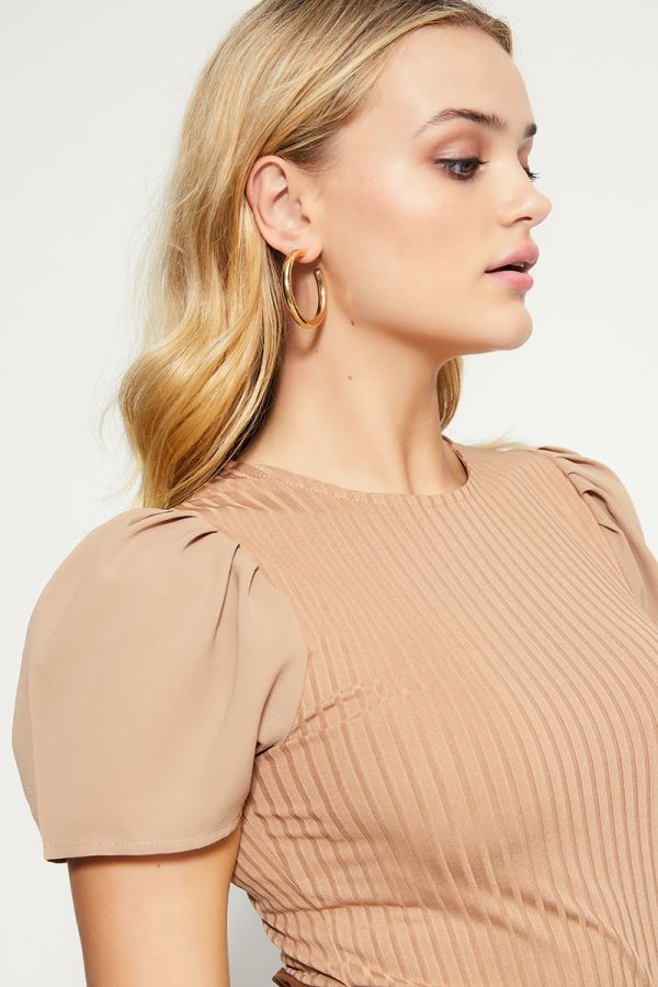 PUFF SLEEVE WOVEN TOP (324434)