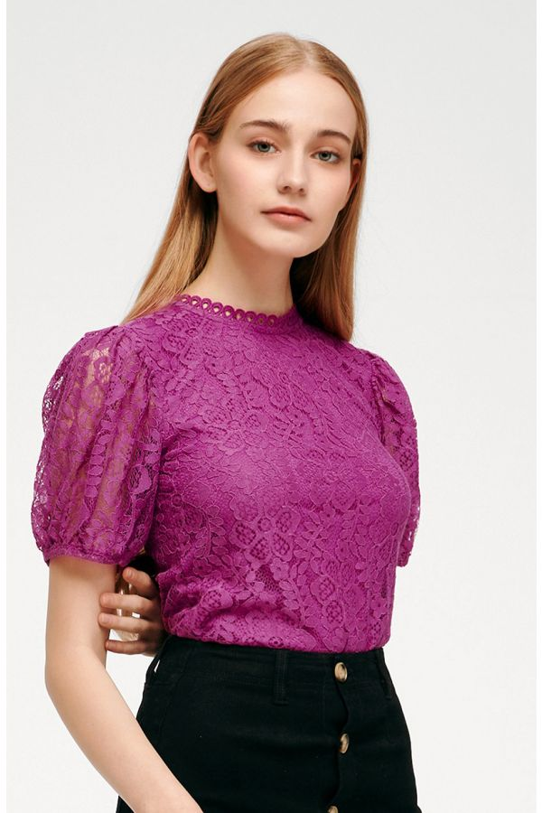 BRIDGETTE PUFF SLEEVE LACE TOP (324437)