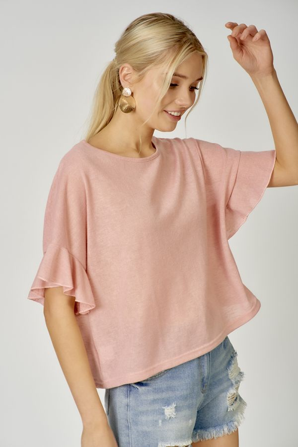 RUFFLE SLEEVE LOOSE FIT TOP  (324455)